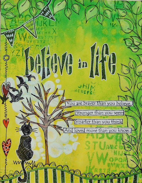 Siv's place: Believe in life - Dylusions art journal page