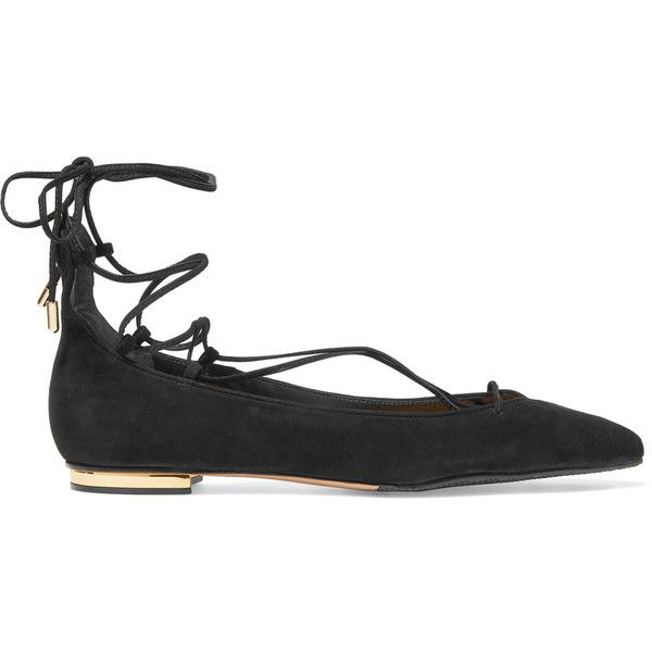 Schutz Tori lace-up suede point-toe flats (700 CNY) ❤ liked on Polyvore featuring shoes, flats, black, suede flats, black suede flats, black lace up shoes, pointed toe flats and pointy-toe flats