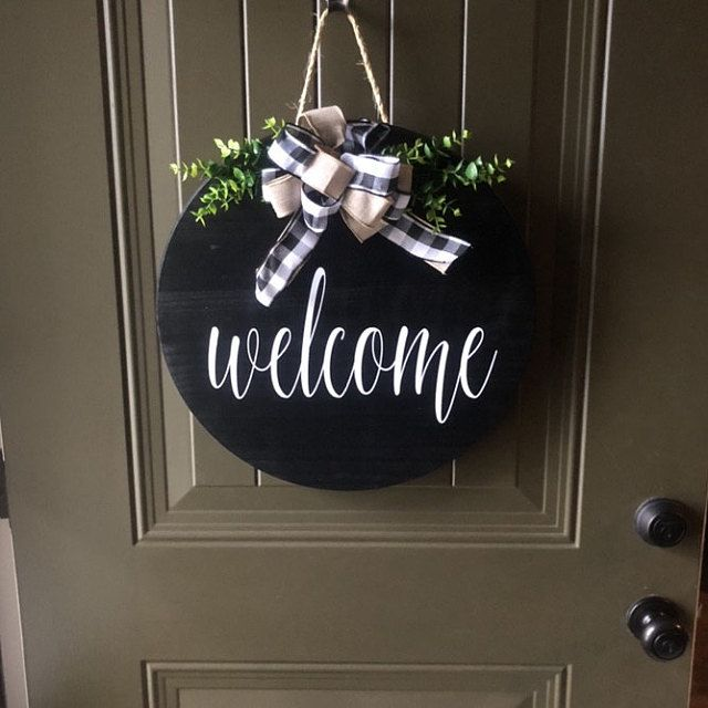 Front Door Decor Door Hanger Welcome Sign Wood Door Sign Front Door Sign Year Round Wreath Wreath Door Decor Wedding Gift In 2020 Welcome Signs Front Door Christmas Door Hanger Front