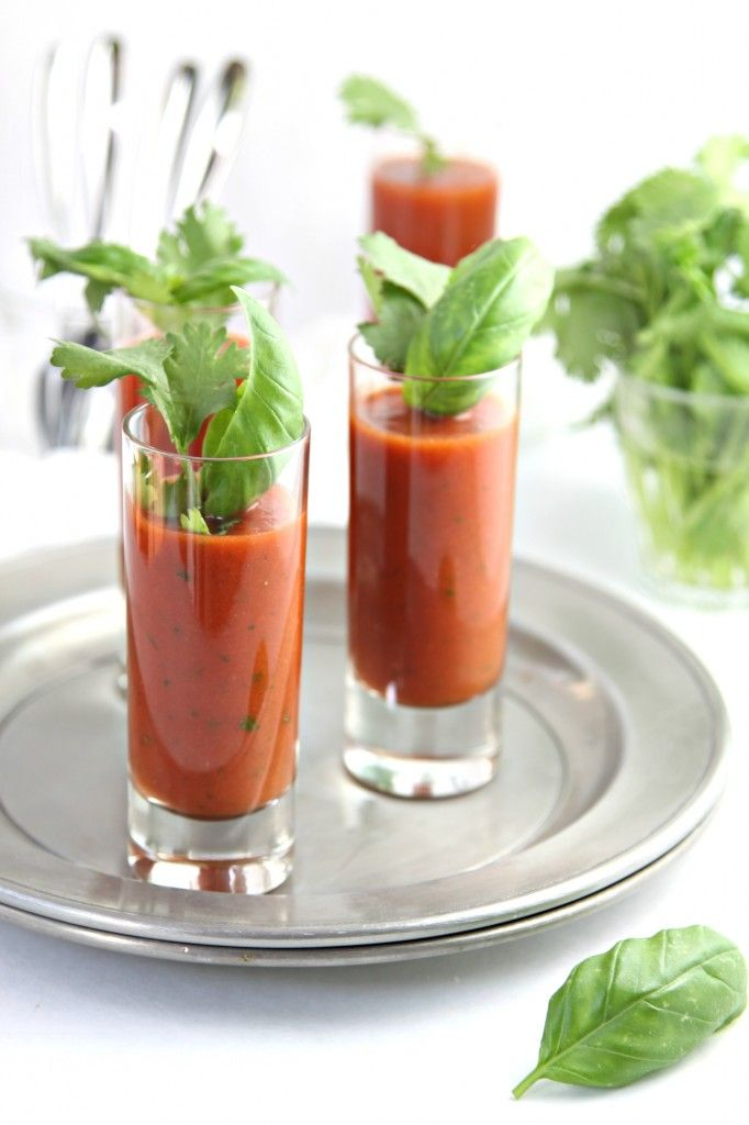 Chilled Spicy Tomato Soup Shots: 1 pint cherry tomatoes 1/2 cup basil 1/2 cup cilantro 2 tablespoons olive oil 1/2 - 1 tablespoon Tabasco 1 teaspoon apple cider vinegar salt  pepper Blend well and refrigerate. Serve cold. Garnish with basil leaf