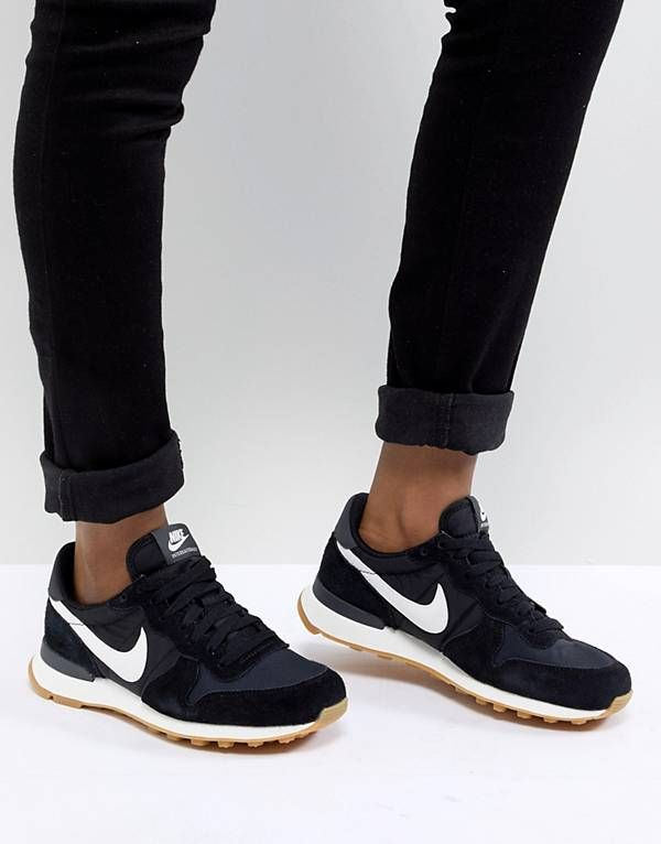 separation shoes 78612 d1985 Nike Internationalist Nylon Trainers In Black And White