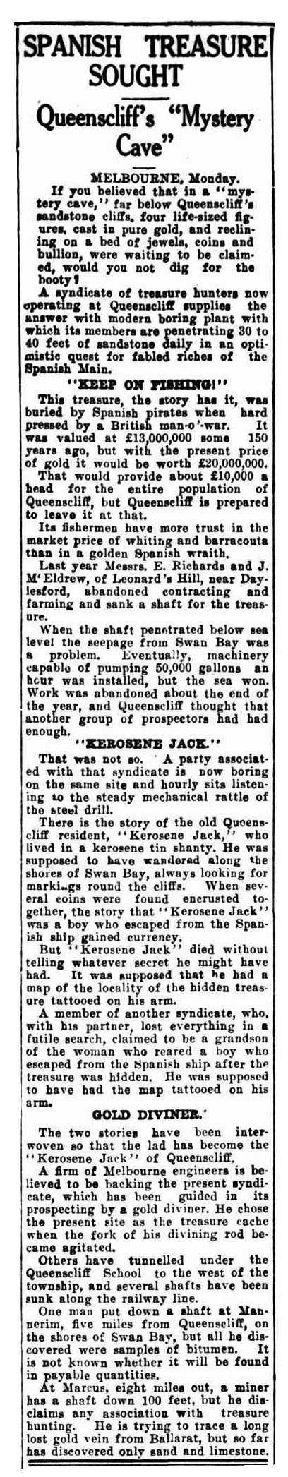 Article from the Advocate (Burnie, Tasmania) - Tuesday August 2, 1938