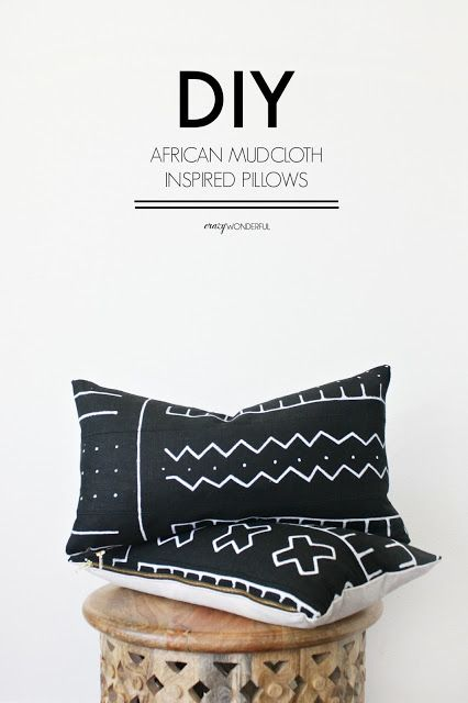 Crazy Wonderful: DIY african mud cloth pillows, mudcloth tutorial, fabric paint…
