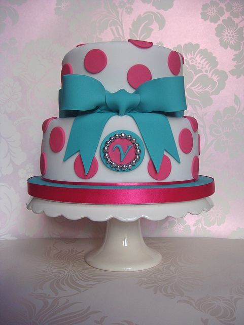 pink teal spots and bow 21st birthday cake by smithyclaire via flickr