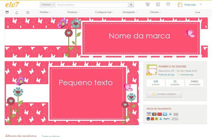 Kit Layout para loja elo7 (Conta Pro): <br>Kit exclusivo e vendido a um único cliente! <br>Contempla: <br>1 banner para loja elo7. <br>1 fachada para loja elo7 com apresentação do seu trabalho que deve ser enviada por você. <br>1 avatar perfil para loja elo7. <br> <br> <br>ADQUIRA TAMBÉM COM A MESMA ARTE O LAYOUT PARA SEU BLOGGER, CAPA PARA FACEBOOK, CAPA E FUNDO PARA TWITTER, ARTE DE CARTÃO DE VISITA, ARTE DE TAG,ADESIVOS, MARCA DAGUA PARA FOTOS E DEMAIS ITENS PARA COMPOR SUA IDENTIDADE…