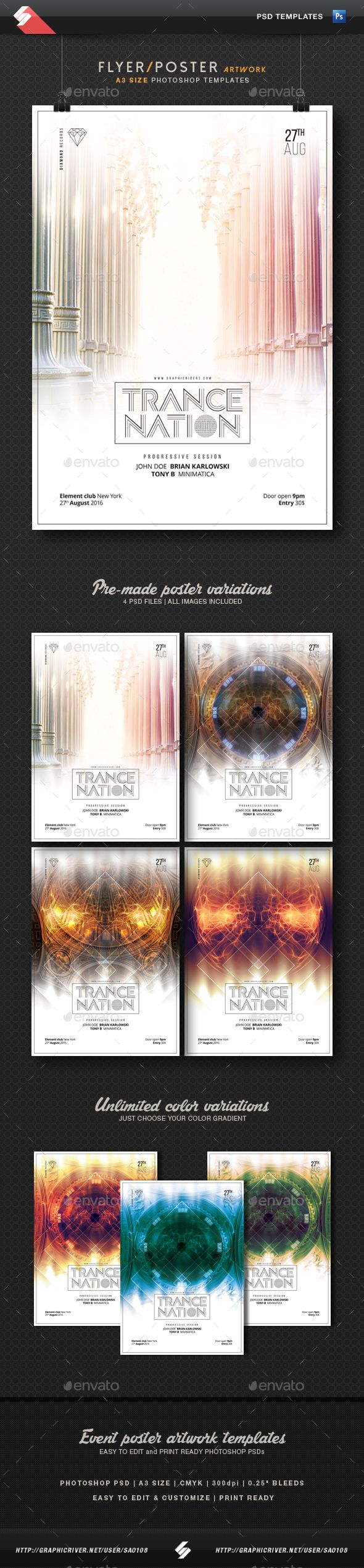 Trance Nation - Party Flyer Templates A3