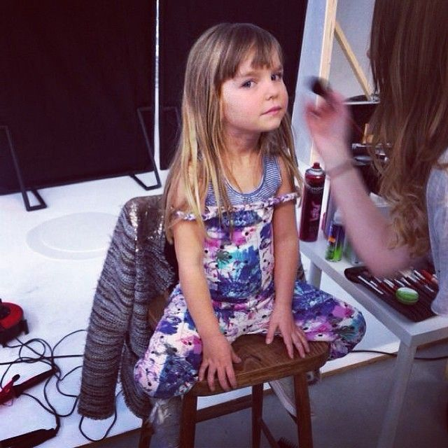 Another shooting day! Our little model in make-up. Isn't she cute?! The new kids lookbook will be online soon at www.wefashion.com