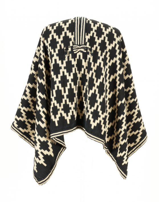 Mapuche Ikat Poncho  Mapuche People, Southern Chile and Argentina  Late 19th century  Wool, Ikat technique, indigo dye.