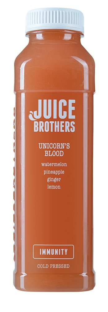 Unicorns Blood - Cold pressed Juice.  Unicorn's blood is said to have magical, healing powers. And this hydrating, immunity-boosting, disease-fighting juice is no exception.  =   watermelon, pineapple, ginger, lemon  +   immunity, detox, vitamin c, hydration