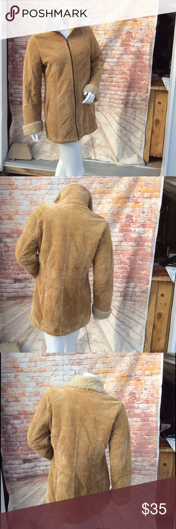 Suede Zip Camel Leather Jacket Very soft and sturdy to the touch.  Outer of Coat is made of real suede. Inside is faux sheep 🐑 lining. Ready to keep you warm and cozy.  Check out my closet for more great finds.    All offers considered  Fast shipping Jackets & Coats