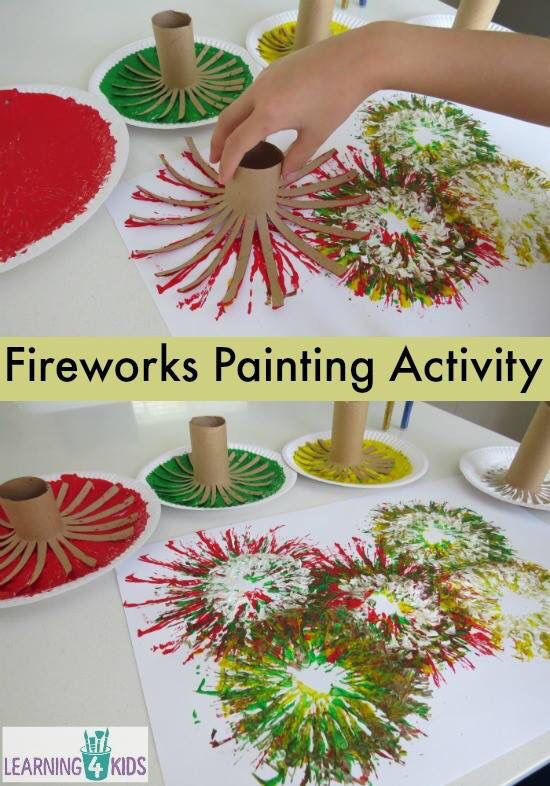 Fireworks painting with old toilet rolls