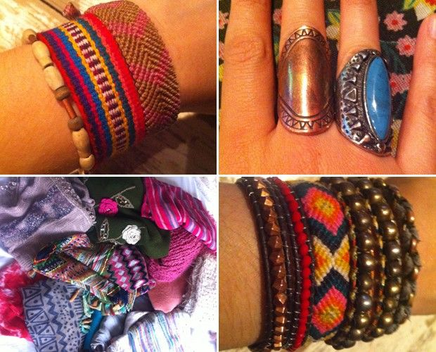 Carla Casarim abre o guarda-roupa e mostra seus acessórios. Pulsieras, brincos, cordões, anéis, brincos e colors dão vida ao look ♥