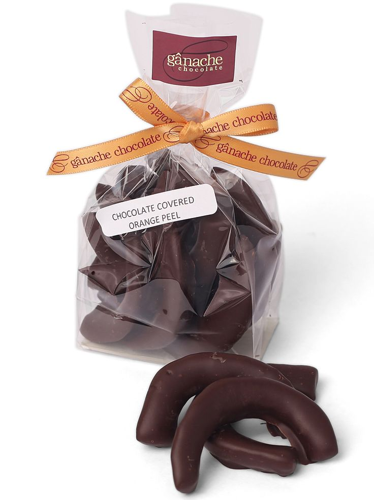 Pieces of orange peel covered in our finest dark 60% chocolate $8.00 http://www.ganache.com.au/delectable-delights/chocolate-covered-orange-peel.html