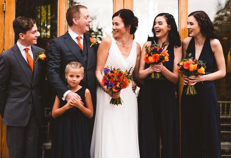 Navy and Orange wedding flowers