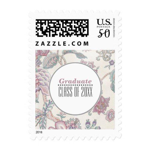 Floral Pattern Graduation Custom Postage Stamps