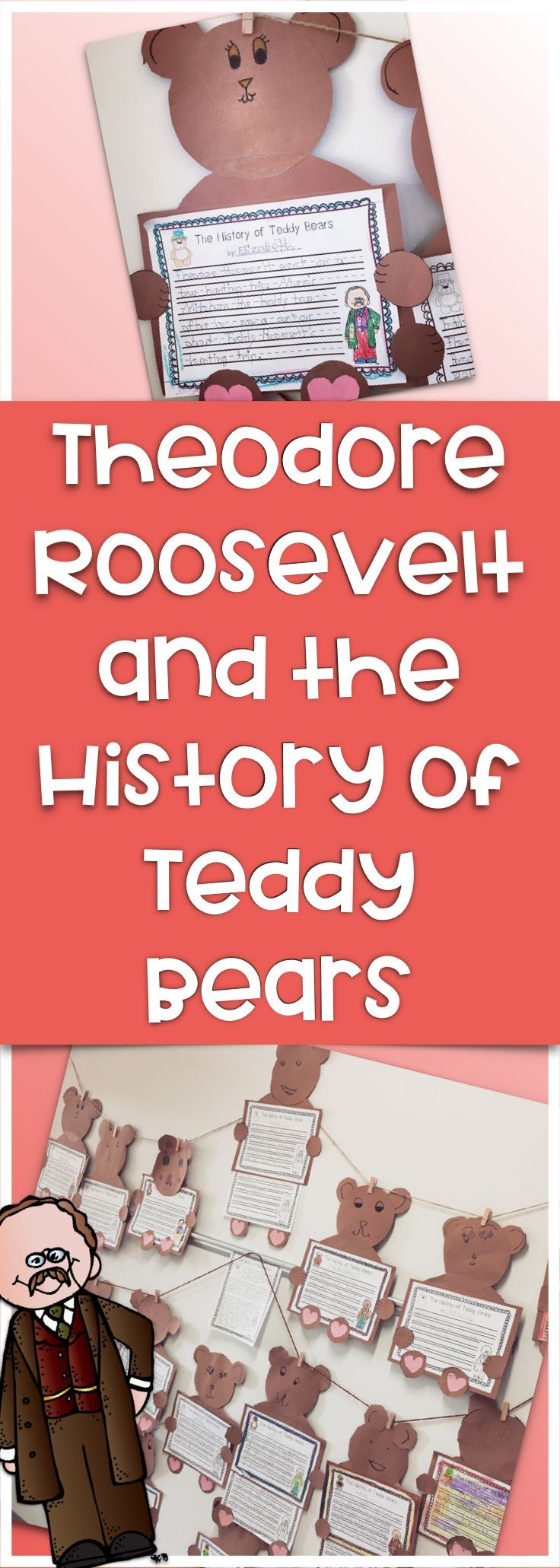 Did you know that teddy bears, one of the most beloved children's toys of all time, were inspired by President Theodore Roosevelt? This packet includes a one- page reading passage about the history of teddy bears, comprehension questions, and a writing and craft activity. This is a great way to combine Presidents' Day and Valentines' Day learning into one fun lesson!