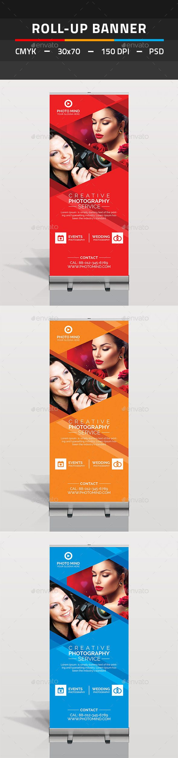 Photography Roll Up Banner by tauhid1989 This is a Photography Roll Up Banner Template. This template download contains 150 DPI, Print-Ready, CMYK, Layerd PSD files. All m