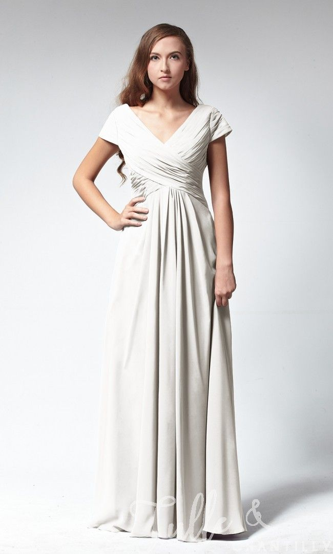 $149 Ruched Slim V-neckline Bridesmaid Dress with Cap Sleeves TBQP140 click for 40+ colors