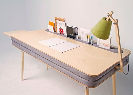 Oxymoron Desk by Anna Lotova stores stationery between two cushioned layers while curved edge plywood sits on top