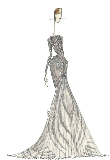 Fashion illustration of Alexander McQueen couture gown; dress sketch // J. Larkowsky