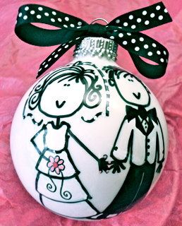 Hey, I found this really awesome Etsy listing at http://www.etsy.com/listing/114442451/wedding-bride-and-groom-ornament-hand