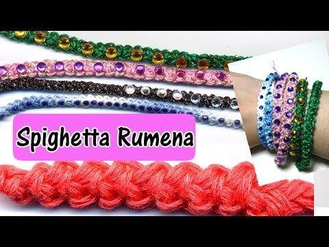 """Spighetta rumena"" bracelet (crochet). In italian, but images are enough. Tutorial spighetta rumena | Braccialetti estivi uncinetto |"