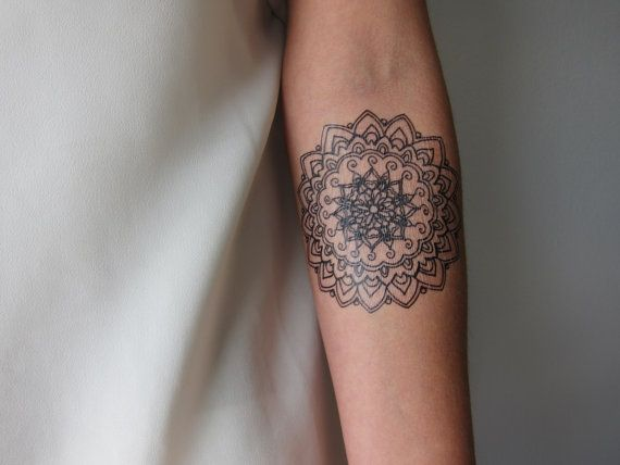 Small Mandala B Hand Drawn Temporary Tattoo by LagoonHouse on Etsy