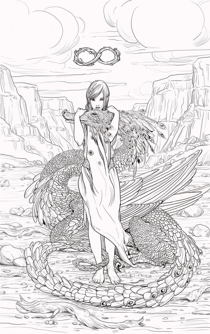 Coloring coloriage femme dragon