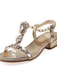 Sandaler-Tilpassede+materialer+Glitter-Club+Sko+Originale-Damer-Guld+Sølv-Fritid+Formelt-Lav+hæl+–+DKK+kr.+2.950