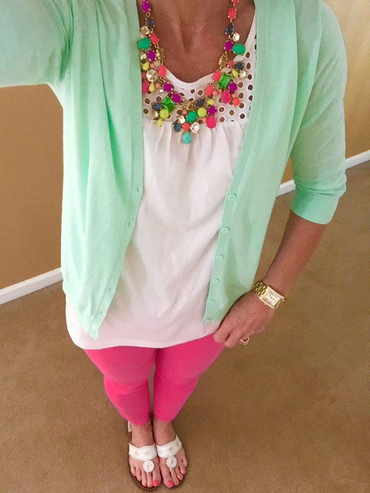 Spring Brights:  Old Navy top and cardigan, J Crew Toothpick Jeans, Necklace via TJ Maxx, Jack Rogers Navajo Sandals, Michael Kors Watch