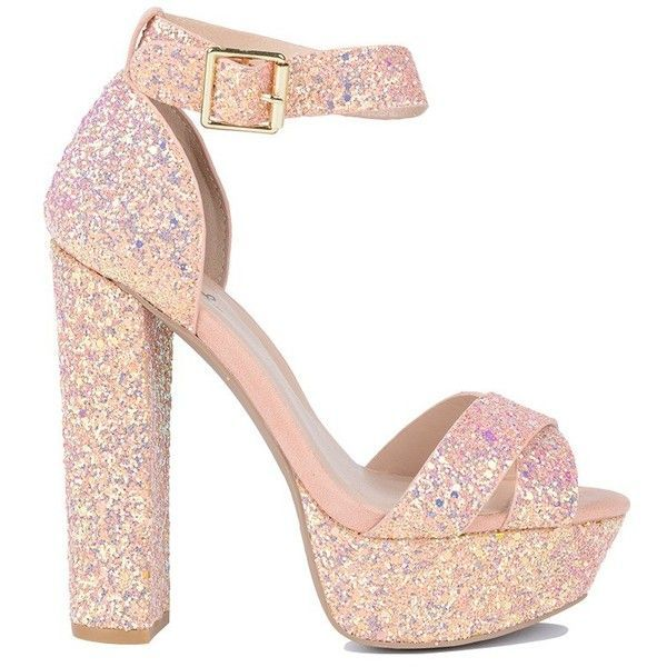 Party Time Ankle Strap Platform Sandals ($20) ❤ liked on Polyvore featuring shoes, sandals, glitter high heel shoes, high heeled footwear, glitter platform sandals, party shoes and platform shoes