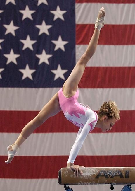 Mattie Larson (United States) on balance beam at the 2007 U.S. National Championships
