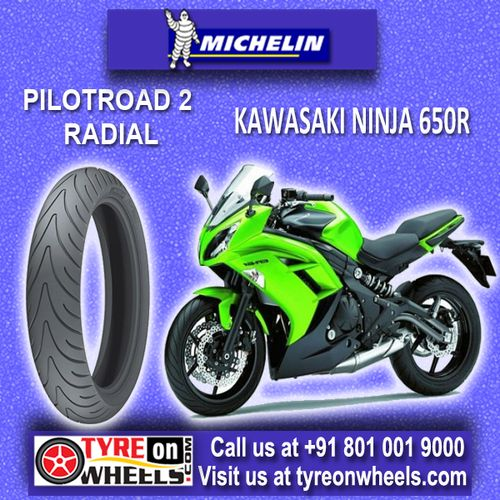 Buy Michelin Pilot Road 2 Tubeless Bike Tyres Online for Kawasaki Ninja 650R at Guaranteed Low Prices with free shipping across India Visit to buy now at http://www.tyreonwheels.com/bike/tyres/Kawasaki/Ninja-650R/Rear-Tyre/bike_manufact/vm/13/Mumbai
