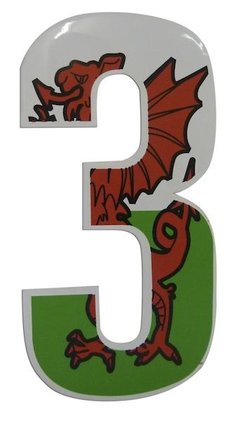 Welsh Dragon Wheelie Bin Numbers - choose your number!