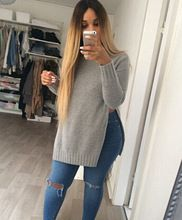 DY2666w Hot sale ladies o-neck loose style low split sweater  Best Buy follow this link http://shopingayo.space