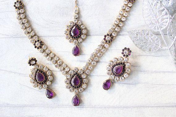 Ensemble de violet or argent Collier boucle d'oreille Tikka indien Bollywood ensemble les demoiselles d'honneur, bal fête de mariage