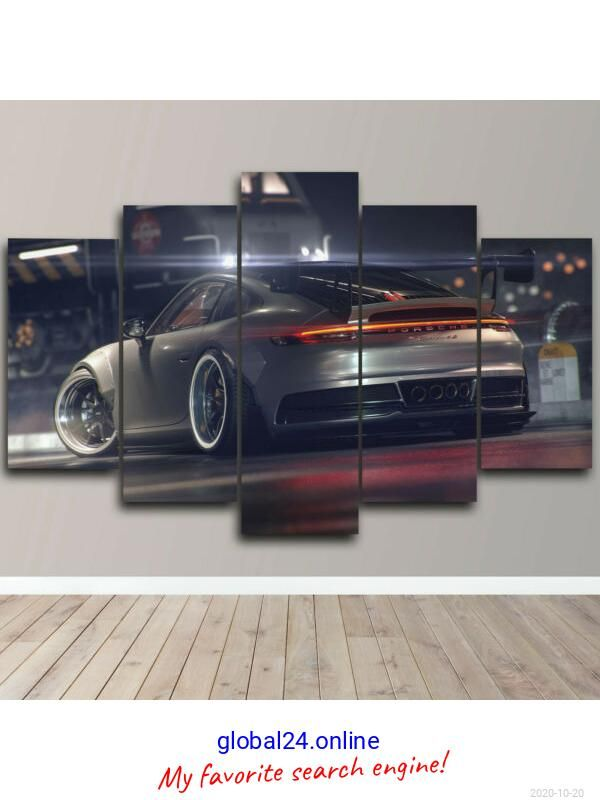 Framed 5 Piece Canvas Wall Art Porsche Racing Grey Sport Car Print Hd Home Decor Porsche Super Car Racing Sports Cars