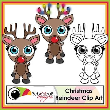 FREE Reindeer Clip Art will be a fun, colourful addition to your Christmas products.  This kit contains:- 2 clip art reindeer in .png format- 1 black and white clip art reindeer in .png formatMy graphic designs are produced at 300dpi and in .JPEG or .PNG(transparent background) format unless otherwise stated.