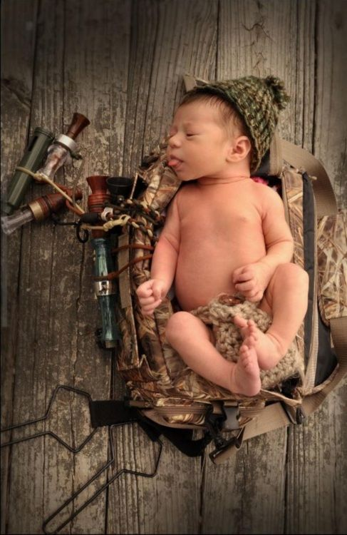 Duck hunting newborn photoshoot.