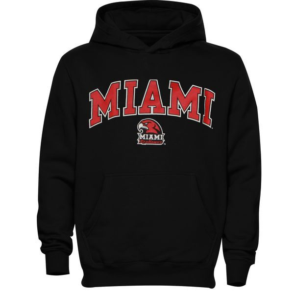 Miami University RedHawks Youth Midsized Pullover Hoodie – Black - $22.99
