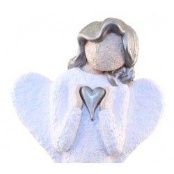 Engel, Figur, Holder Spisst Sølvhjerte - Farge Hvit, Sølv Hår