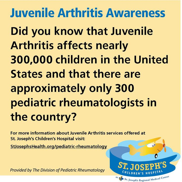 July is Juvenile Arthritis (JA) Awareness Month. Throughout the month St. Joseph's Children's Hospital's Division of Pediatric Rheumatology will be providing facts about the many autoimmune and inflammatory conditions or pediatric rheumatic diseases that fall within JA.