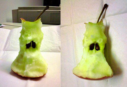 A very sad apple core.