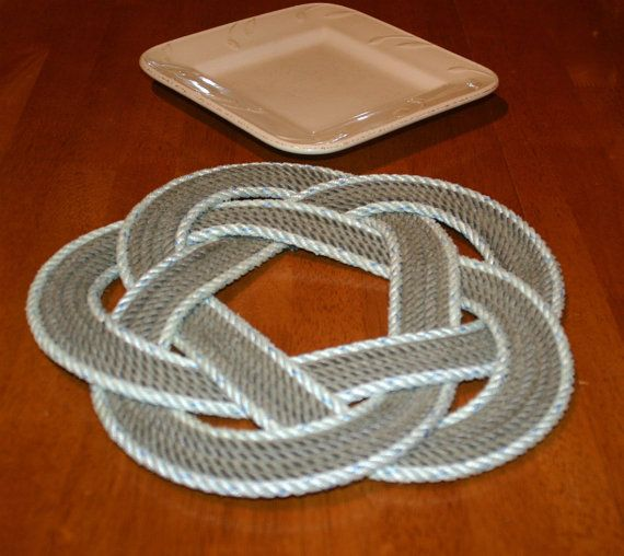 """Nautical Charger Table Centerpiece Trivet Rope Round Design two toned 13"""" diameter - reclaimed rope, available in other colors too"""