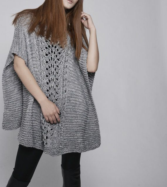 hand knitted Poncho/ capelet in Grey by MaxMelody on Etsy