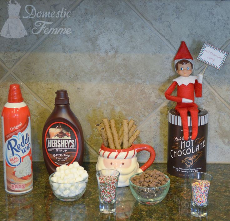 Hot chocolate party station - Elf On The Shelf 2015 Calendar (25+ NEW Ideas!) w/ FREE Printables!  #Christmas #Clothes #Costume #Day #Easy #Elves #Eve #Fast #Food #First #Funny #Girl #Good #Goodbye #Hiding #Hilarious #Holiday #Jesus #Jokes #Kid #Kindness #Lazy #Magic #Minutes #Mischief #Moms #Movie #Moving #Night #Old #Pajamas #Pet #Photos #Pictures #Planner #PJs #Pranks #Quick #Random #RAK #Reindeer #Returning #Toddlers #Tradition #Tricks #Video #Xmas #Year #Young