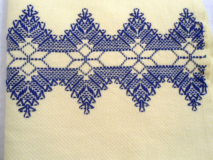 Vintage Linen Kitchen Towel Yellow Embroidered Snowflakes