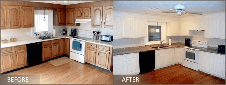 Before and after of kitchen cabinet refacing