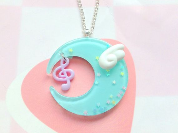 Fairy Kei Moon Pendant Necklace Kawaii Angel Wing Music by CreaBia