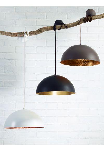 White & Copper Pendant Lightshade - Ceiling Lights - Lighting